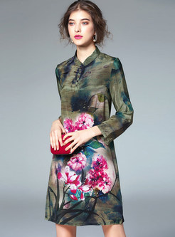 Retro Mandarin Collar Long Sleeve Print Shift Dress