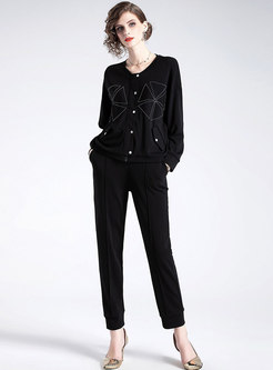 Casual O-neck Zipper Short Coat & Elastic Waist Harem Pants