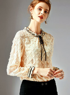 Chic Color-blocked Ruffled Collar Pullover Blouse