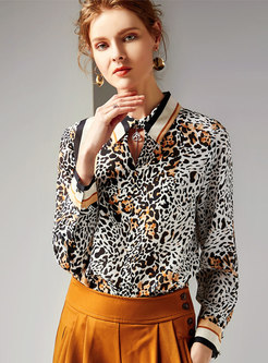 Leopard Print Lapel Silk Pullover Blouse