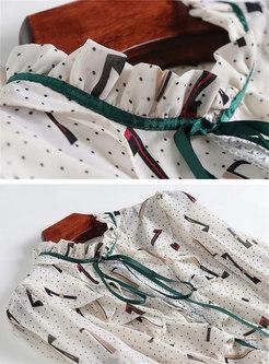 Print Flare Sleeve Falbala Blouse & High Waist Lace Skirt