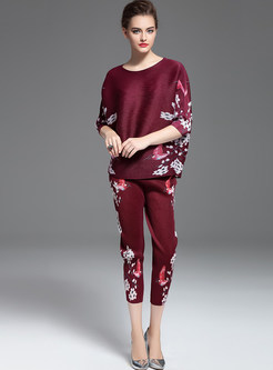 Casual O-neck Bat Sleeve Print Slim Two Piece Outfits