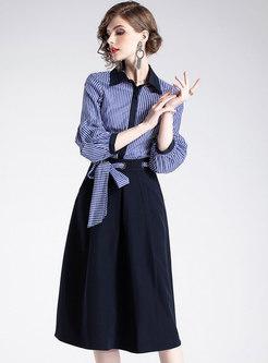 Striped Lapel Puff Sleeve Slim Blouse & High Waist Belted A Line Skirt