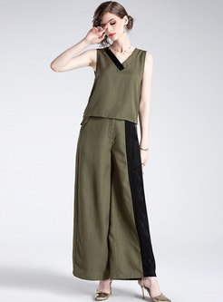 Casual Color-blocked V-neck Sleeveless Top & High Waist Wide Leg Pants