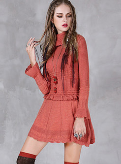 Casual High Neck Long Sleeve Falbala Knitted Dress