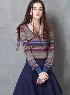 O-neck Color-blocked Long Sleeve Slim T-Shirt