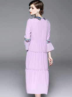 Stylish Embroidered Lapel Flare Sleeve A Line Dress
