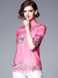 Retro Mandarin Collar Embroidered Half Sleeve Short Coat