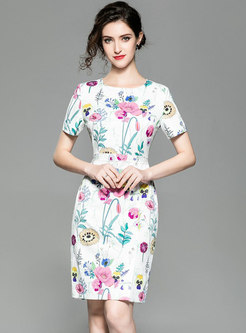 Print O-neck Short Sleeve High Waist Sheath Dress
