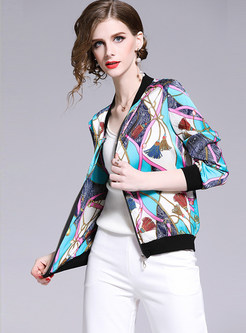 Casual V-neck Long Sleeve Zippered Short Print Coat