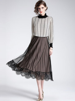 Elegant Print Ruffled Collar Pullover Blouse & High Waist Pleated Skirt