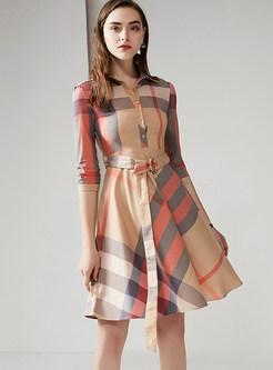 Trendy Lapel Half Sleeve Plaid Waist Skater Dress