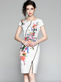 Chic Print Gathered Waist Slit Sheath Dress