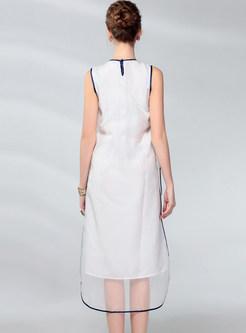 Vintage Sleeveless Silk Embroidered Loose Dress