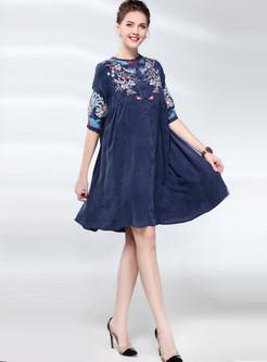 O-neck Single-breasted Embroidered Big Hem Dress