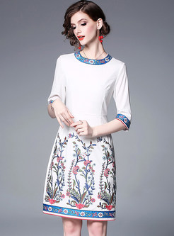 Ethnic Embroidered O-neck Bodycon Slim Dress