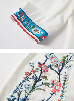 Ethnic Embroidered O-neck Bodycon Slim Dress