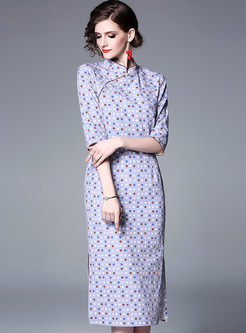 Vintage Mandarin Collar Polka Dot Improved Cheongsam Dress