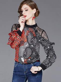Trendy Standing Collar Lace Splicing Print Blouse