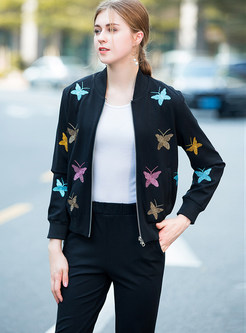 Casual V-neck Butterfly Print Two Piece Outfits