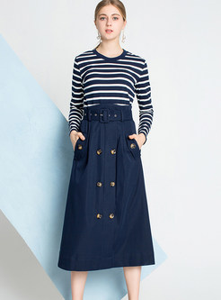 Style Pullover Striped Knitted T-Shirt & A Line Skirt
