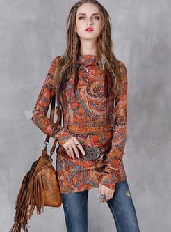 Ethnic Turn Down Collar Long Sleeve Print T-Shirt