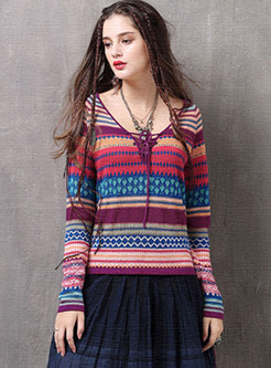 V-neck Color-blocked Tied Pullover Print Sweater