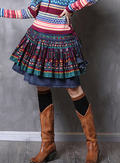 Vintage Color-blocked Splicing Denim Mini Skirt