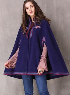 Mandarin Collar Cloak Wool Blended Coat