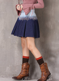 Color-blocked High Waist Pleated Denim Mini Skirt