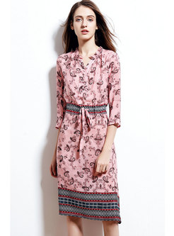 Stylish Print Gathered Waist Three Quarters Sleeve Skater Dress
