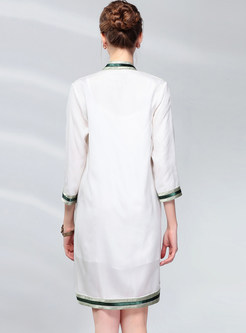 Vintage Three Quarters Sleeve Embroidered Shift Dress