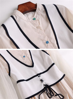 Mesh Sleeve Stand Collar Asymmetric Blouse & Color-blocked V-neck Tied Vest