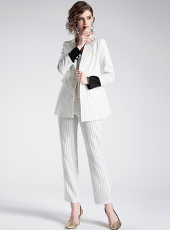 Striped Notched Double-breasted Blazer & Straight Pants