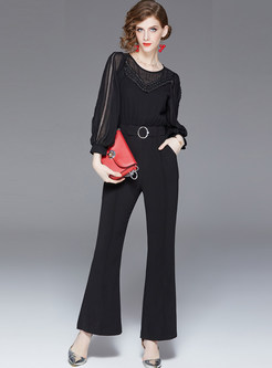 Black O-neck Lantern Sleeve Waist Slim Jumpsuits