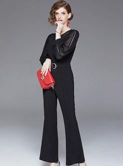 Black O-neck Lantern Sleeve Waist Slim Jumpsuits