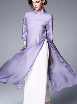 Vintage Half Sleeve Embroidered Mid-claf Dress
