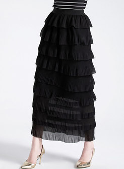 Trendy Elastic Waist Layered Skirt
