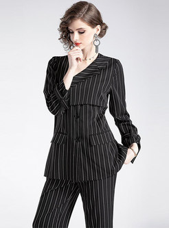 Striped V-neck Single-breasted Blazer & Straight Pants