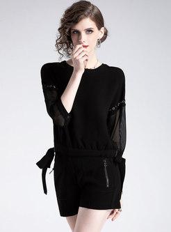 Black Splicing O-neck Bowknot Pullover Blouse & Shorts