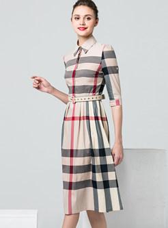 Trendy Plaid Patchwork Tie-waist Pleated Dress