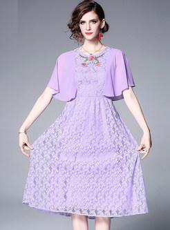 Fashion Lace Embroidered Falbala Big Hem Dress