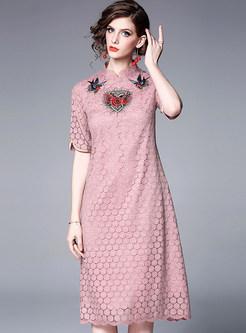 Vintage Mandarin Collar Half Sleeve Embroidered Dress