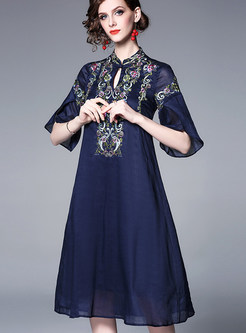 Retro Embroidered Flare Sleeve Big Hem Skater Dress
