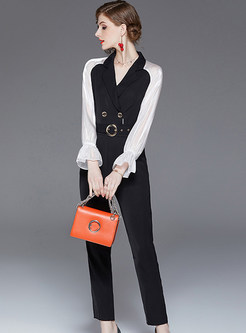 Color-blocked V-neck Long Sleeve Slim High Waist Jumpsuits