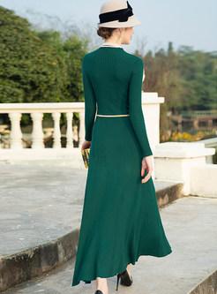 Fashion O-neck Long Sleeve Big Hem Knitted Maxi Dress