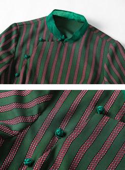 Mandarin Collar Half Sleeve Striped Improved Cheongsam Dress