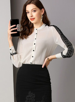 Color-blocked O-neck Single-breasted Blouse