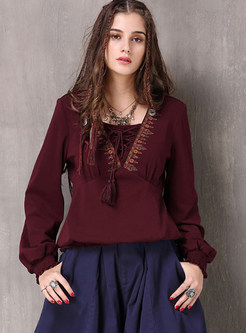 Ethnic V-neck Embroidered Plus Size Tied Sweater