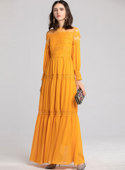 Lace Splicing Party See-through Slim Maxi Dress